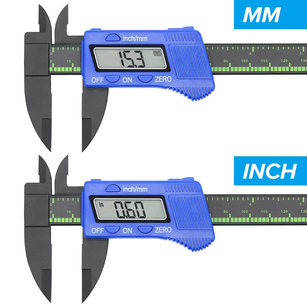 Digital Caliper 6 inch Electronic Vernier Caliper Measuring Tool with Large LCD Screen, 0-6 Inches/0-150 mm Conversion Auto Off Featured, 1 PCS Extra Battery Included (Blue)