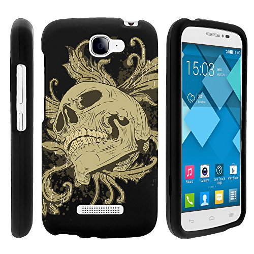 MINITURTLE, 3 in 1 Slim Fit Graphic Design Image 2 Piece Snap On Hard Phone Case Cover, Stylus Pen, and Clear LCD Screen Protector for Android Smartphone Alcatel One Touch Fierce 2 7040T /T Mobile (Skull and Leaves)