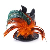 AmaGood Mini Top Hat Feather Fascinator Cocktail 63a9f454ac73