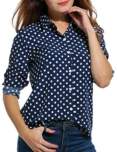 SE MIU Women's Chiffon Long Sleeve Office Button Down Blouse Polka Dot Shirt Tops