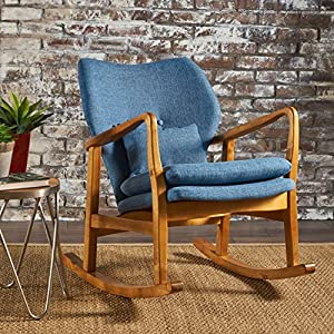 Christopher Knight Home 302100 Balen Mid Century Modern Fabric Rocking Chair (Muted Blue)