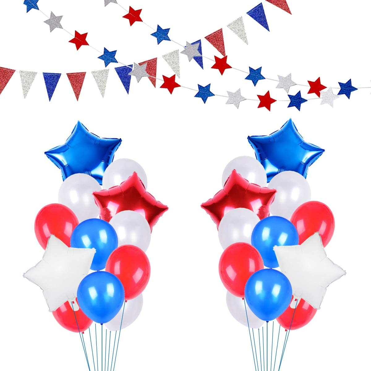 JumDaQ Red White Blue Star Foil Balloons Banner Party Bunting and Latex Balloons for Birthday Themed Party Patriotic Events American Holidays Decorations( 40 Packs)