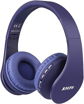 JIUHUFH Auriculares Bluetooth con Micrófono Incorporado/ Reproductor de MP3 / Radio FM / Manos Libres para Teléfonos Celulares (Azul): Amazon.es: Electrónica