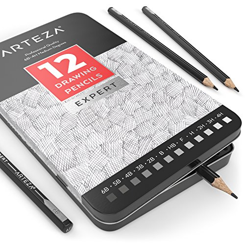 ARTEZA Professional Drawing Sketch Pencils - Medium - Metal Tin Box (6B - 4H, Set of 12)