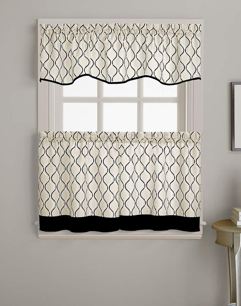 CHF Morocco Ogee Print Scallop Window Kitchen Curtain Valance, Rod Pocket, 58W x 14L inch, Black