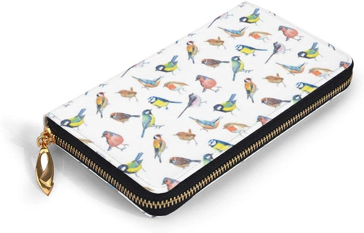 Bright Little British Birds Womens RFID Blocking Zip Around Wallet Genuine Leather Clutch Long Card Holder Organizer Wallets Large Travel Purse