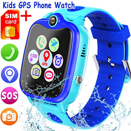 [SIM Card Included] Kids Smartwatch with GPS Tracker, Waterproof Smart Watch for Kids Boys Girls Age 3-12 Year Old, SOS Alarm Clock Digital Wrist Watch Phone Holiday Birthday Gift (Blue)