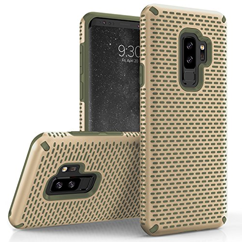 Zizo Echo Series Compatible with Samsung Galaxy S9 Plus Case Dual Layered TPU and PC with Anti-Slip Grip Desert TAN CAMO - Case Tan Desert