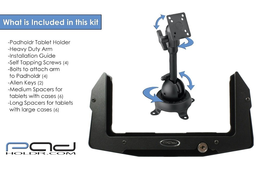 Padholdr Heavy Duty Aluminum Utility Locking Holder with Industrial Grade Mount for iPad and Other Tablets
