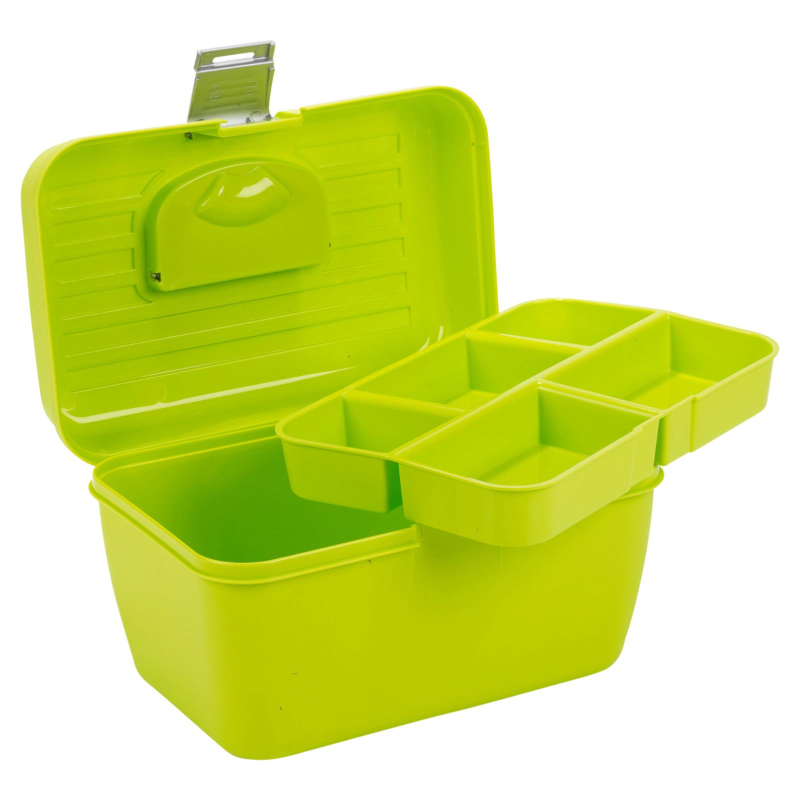 Easygift Products Storage Box With Removable Tray Carry Tool Case With Handle Multi Functional Organiser - Lime Green