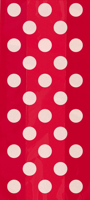 Unique Party-Paquete de 20 bolsas de regalo de celofán a lunares, color rojo, (62062)