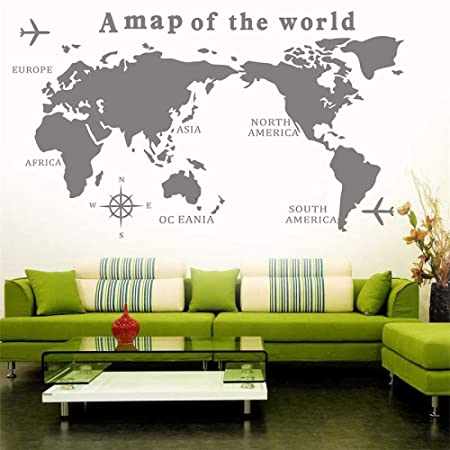 LUANQI Big Szie Un Mapa del Mundo Tatuajes de Pared Decoración ...