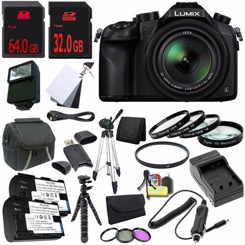 Panasonic Lumix DMC-FZ1000 Digital Camera + Replacement Lithium Ion Battery + External Rapid Charger + 32GB SDHC Class 10 Memory Card + 64GB SDXC Class 10 Memory Card + Carrying Case + External Flash + 62mm UV Filter + 62mm 3 Piece Filter Kit + 62mm Macro Close Up Kit + Micro HDMI Cable + Full Size Tripod + 12-Inch Flexible Tripod with Gripping Rubber Legs + SD Card USB Reader + Memory Card Wallet + 3 Piece Digital Grey Balance Cards Set + Deluxe Starter Kit DavisMAX Bundle