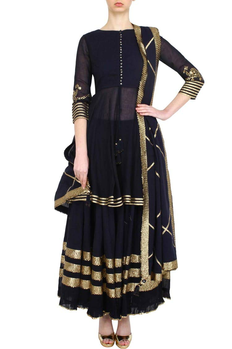 Indian Handmade Ethnic Ready to wear Black 3/4 Sleeve Short Kurti Golden Lace Sharara Suit Bespoke 108okh