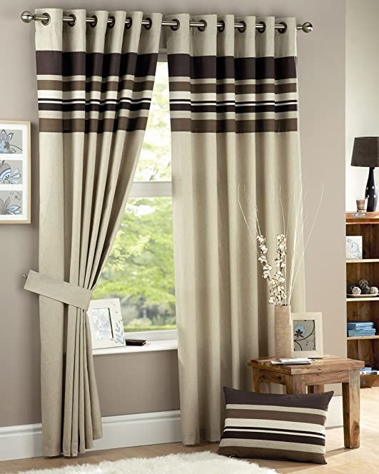 Hayley Fully Lined Striped Curtains 90u0026quot; X 90u0026quot; Horizontal Stripes  Chocolate Brown Ivory Cream