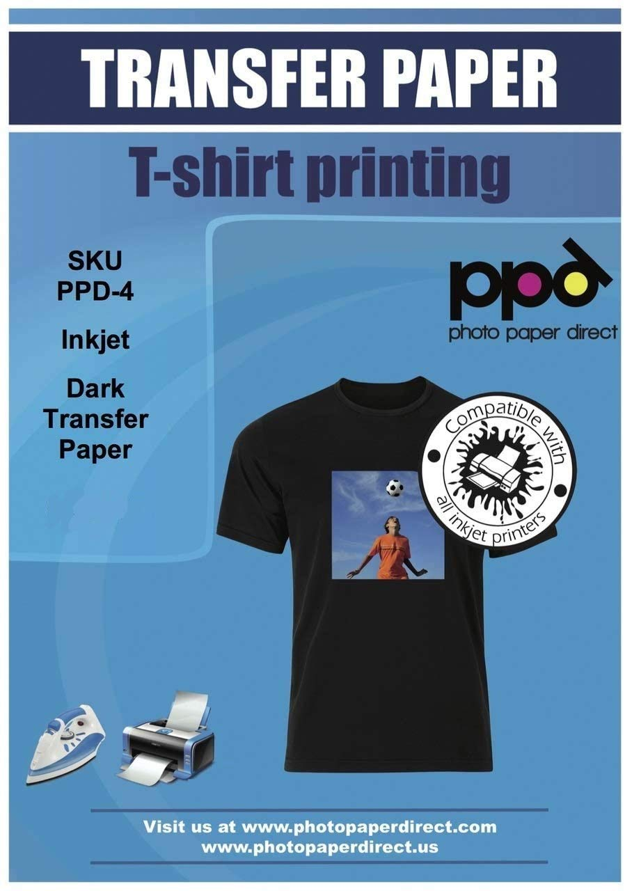 """PPD Inkjet Premium Iron-On Dark T Shirt Transfers Paper LTR 8.5x11"""" Pack of 20 Sheets (PPD004-20)"""