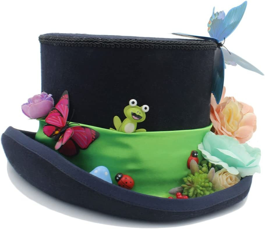 LLPBEAU-hat Sombrero de Copa DIY Steampunk con Sombrero de Sombrerero Loco de Flores para Mujeres