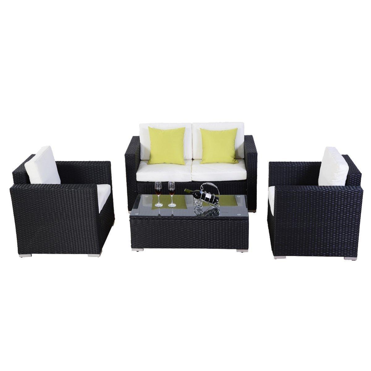 amazoncom 4pcs polar aurora black rattan wicker garden outdoor indoor sofa set furniture garden outdoor