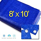 8' X 10' Blue Multi-purpose Waterproof Poly Tarp Cover Tent Shelter Camping Tarpaulin By Prime Tarps