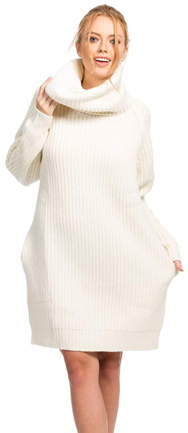 9b655522a617 Citizen Cashmere Cowl Neck Sweater Dress at Amazon Women's Clothing store: