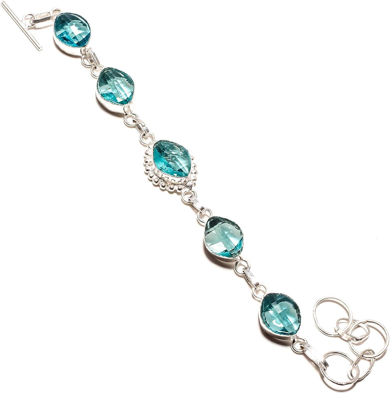jewels paradise SF-1206 - Pulsera con Piedras Preciosas facetadas de topacio Azul Hecha a Mano en Plata de Ley 925 - Pulsera Ajustable y Flexible con Cadena de eslabones Largos