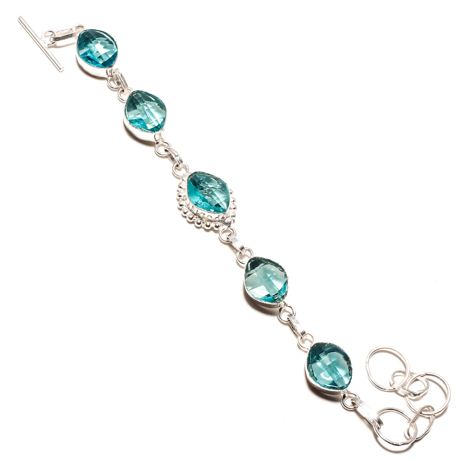 SF-1206 Amazing Faceted Blue Topaz Gemstone Bracelet Handmade 925 Sterling Silver Plated Jewelry Adjustable and Flexible Length-Link Chain Bracelet