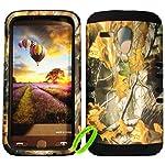 Cellphone Trendz High Impact Hybrid Rocker Protective Case for Motorola Moto G XT1032 – Hunter Series Real Camo Mossy Dry Leaves Hard Shell Black