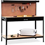 Garage workbench with pegboard and drawer hooks steel metal workshop table station