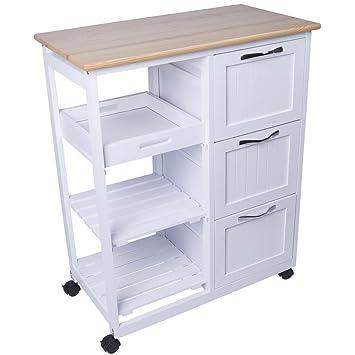 Küchenwagen  Amazon.de: Küchenwagen aus Holz Küchentrolley weiß Servierwagen ...