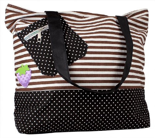 Brown and White Large Women Canvas Tote Handbags, Bags Central
