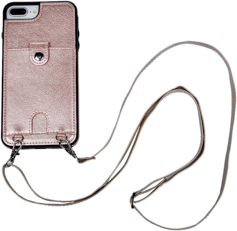 Funda para Apple iPhone 7 Plus// 8 Plus con Cordon para Llevar en el Cuello en Oro rosa con Cuerda Carcasa de PU Cuero Sint/ético con Colgante Case con Correa Colgante