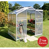 Essential Lacewing 6ft x 4ft Silver Rustproof Aluminium Frame Guttered Greenhouse w Base & Roof Vent. Made w Virtually Unbreakable Polycarbonate (PC) Panels.