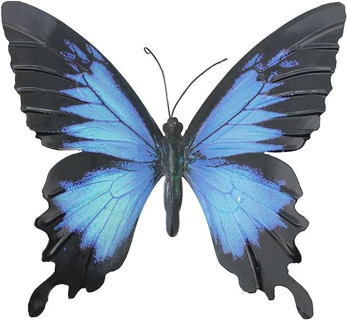 Primus - Decoración de pared para jardín, diseño de mariposa de metal, color azul y negro: Amazon.es: Amazon.es