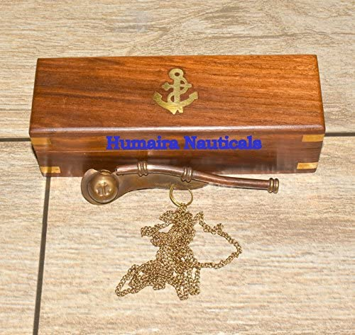 Maritime Nautical Brass//Copper Boatswain Whistle Bosun Call Pipe with Wood Box