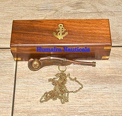 BRASS NAUTICAL MARITIME COPPER BOATSWAIN WHISTLE W//BOX BOSUN WHISTLE
