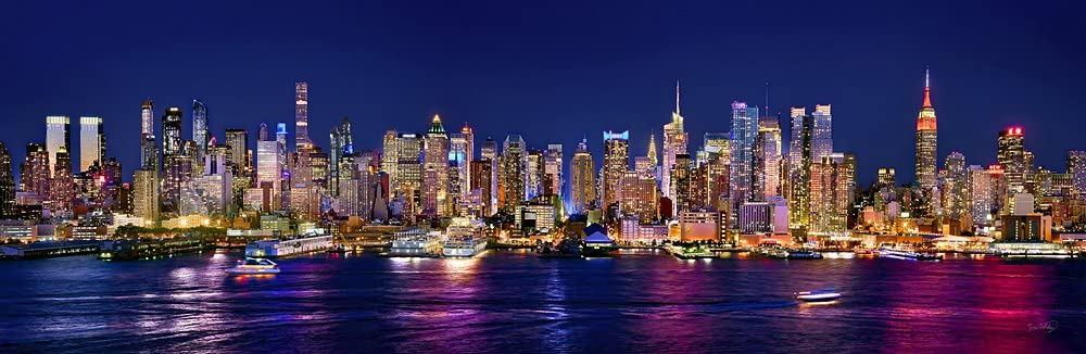 New York City Manhattan Midtown Skyline PHOTO PRINT UNFRAMED NIGHT COLOR NYC 11.75 inches x 36 inches Photographic Panorama Print Photo Picture