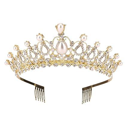 Amazon.com: Sppry - Tiara con peine para mujer con corona de ...