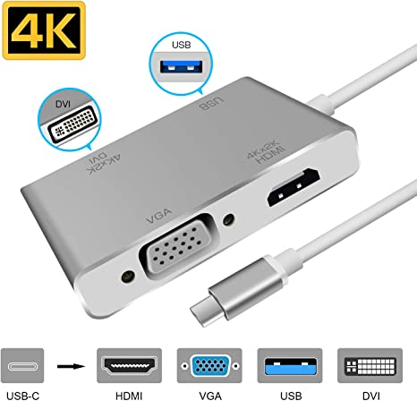 Thunderbolt 3 USB-C to HDMI DVI VGA Converter USB Hub 4K UHD Video 4in1 Adapter