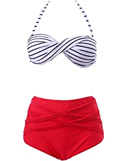 267ac48e5a029 HDE Women s Retro Bikini High Waist Vintage Style Swimsuit 50 s Pinup  Bathing Suit