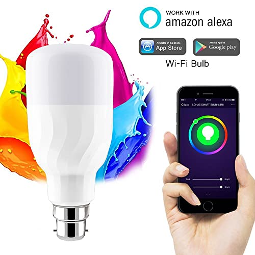 WiFi Smart Bulb, Works with Alexa and Google Home, LED Colour Changing RGB Dimmable B22 Bayonet 60W Equivalent Bulb, No Hub Light with Timing Function and IFTTT, Remote Controlled by IOS/Android Devices