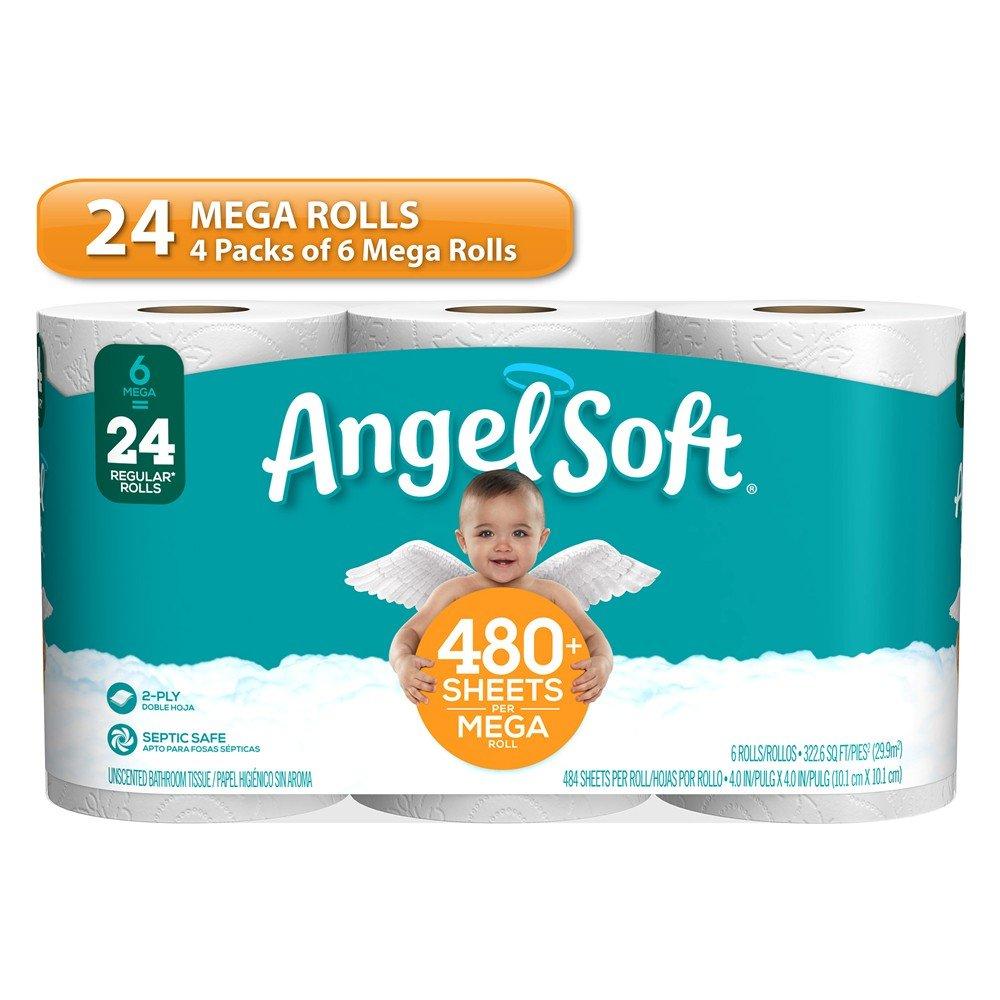 ANGEL SOFT Toilet Paper Bath Tissue, 24 Mega Rolls, 480+ 2-Ply Sheets Per Roll by Angel Soft