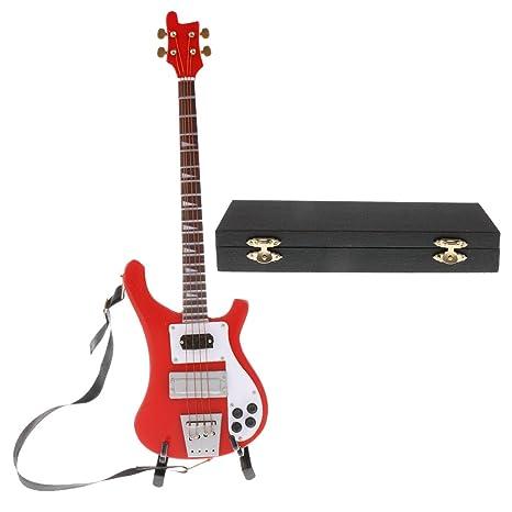 Amazon.es: 1/6 Mini Modelo de Guitarra de Madera de 6 Cuerdads con ...
