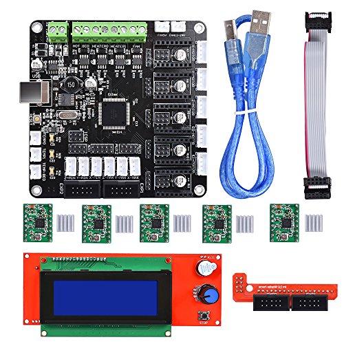 BIQU KFB3.0 3D Control Board +LCD 2004 Module Display Monitor Motherboard + A4988 Stepstick Stepper Motor Driver Module for Reparp Mendel Prusa I3 Kossel 3D Printer by BIQU