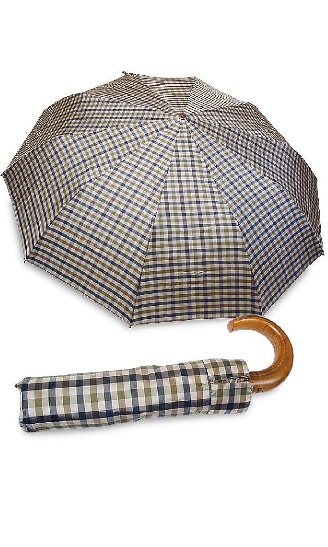 イタリアミラノ老舗傘ブランド【rainbow/レインボー】折りたたみ傘 雨傘 ワンタッチオープン 天然木 ウッドハンドル ギフトにも最適(全5色) B008CMXE8Iスモールチェックブラウン