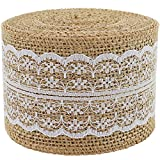 Arts & Crafts : Burlap Ribbon Roll White Lace Trims Tape Natural Jute 156 Inches