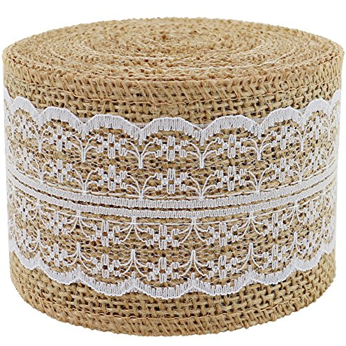Burlap Ribbon Roll White Lace Trims Tape Natural Jute Fabric Ribbons 156 inches