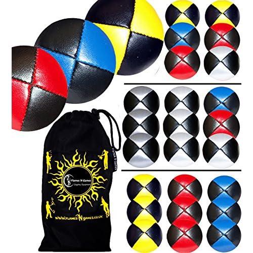 3x Balles de Jonglage CUIR Super Durable (15 options de couleur) + Sac de transport. Pro Jonglerie Balle! (Bleu)