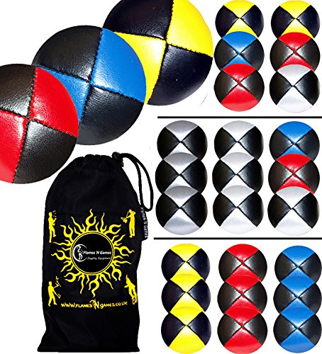 3x Pro Thud Juggling Balls (LEATHER) Professional Juggling Balls Set of 3 + Travel Bag! (Red/Blue/Yellow) Flames N Games