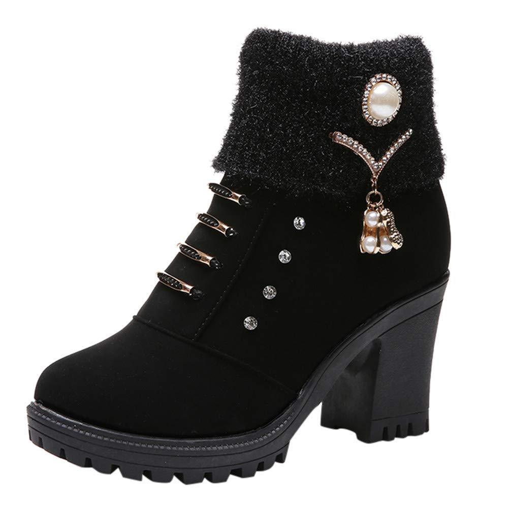 ZHRUI Schuhe Damen Stiefel Freizeitschuhe Winterstiefel Stiefeletten Kurze Stiefel Frauen Platz High Heel Crystal Ankle Martin Schuhe Kurze Stiefel Stiefelie (Farbe   Schwarz 1 Größe   36 EU)