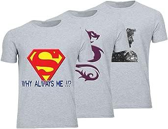 Geek ET1794 Set Of 3 T-Shirt For Men-Grey, 3 Xlarge